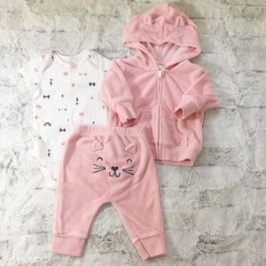 Carter's hoodie outfit, onesie and pants size 3 m